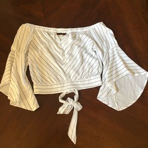 Crop white with blue stripe shirt